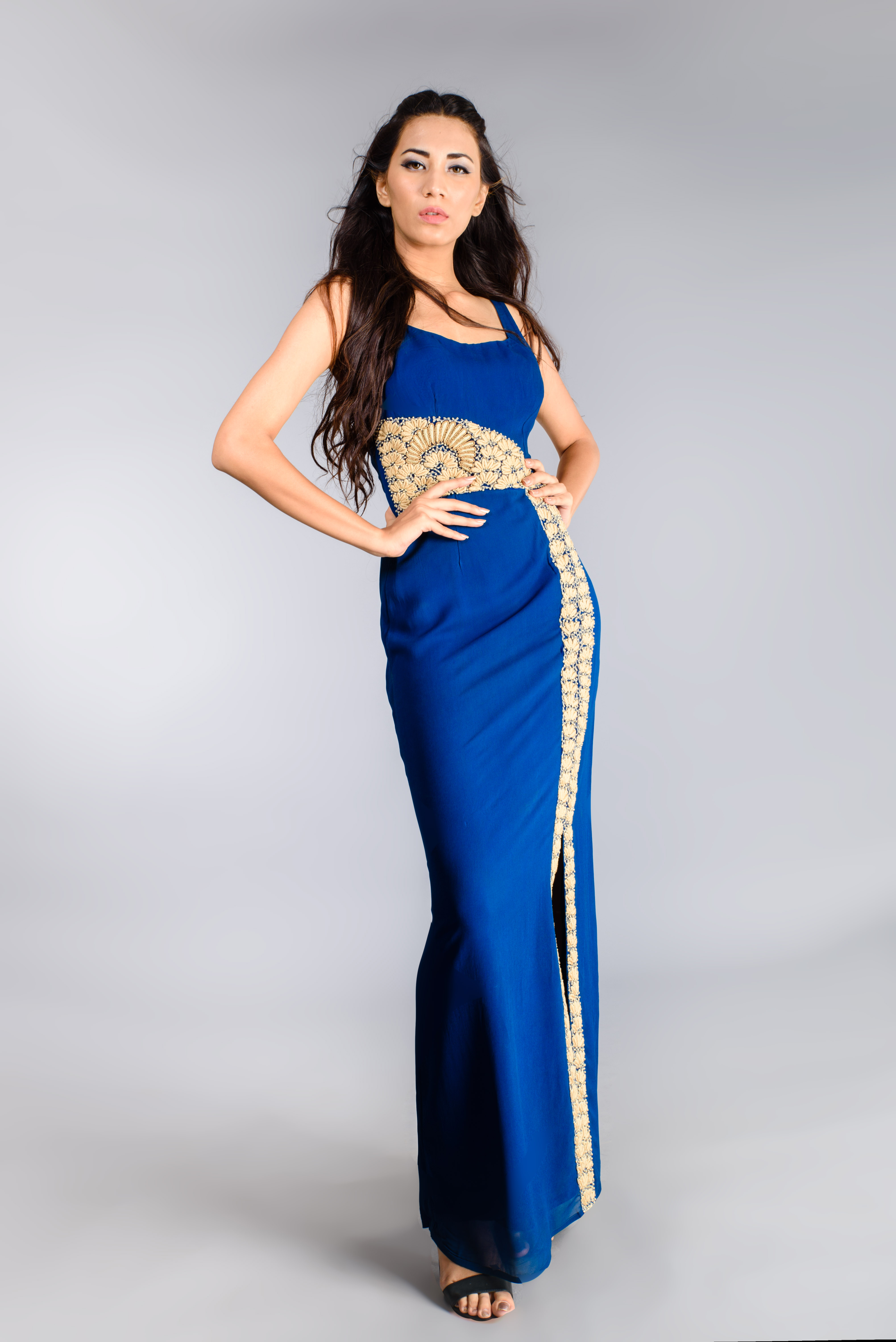 Royal Blue Gown with embroidered motif - Shaleena Nowbuth