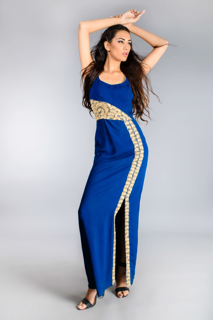Royal Blue Gown with embroidered motif